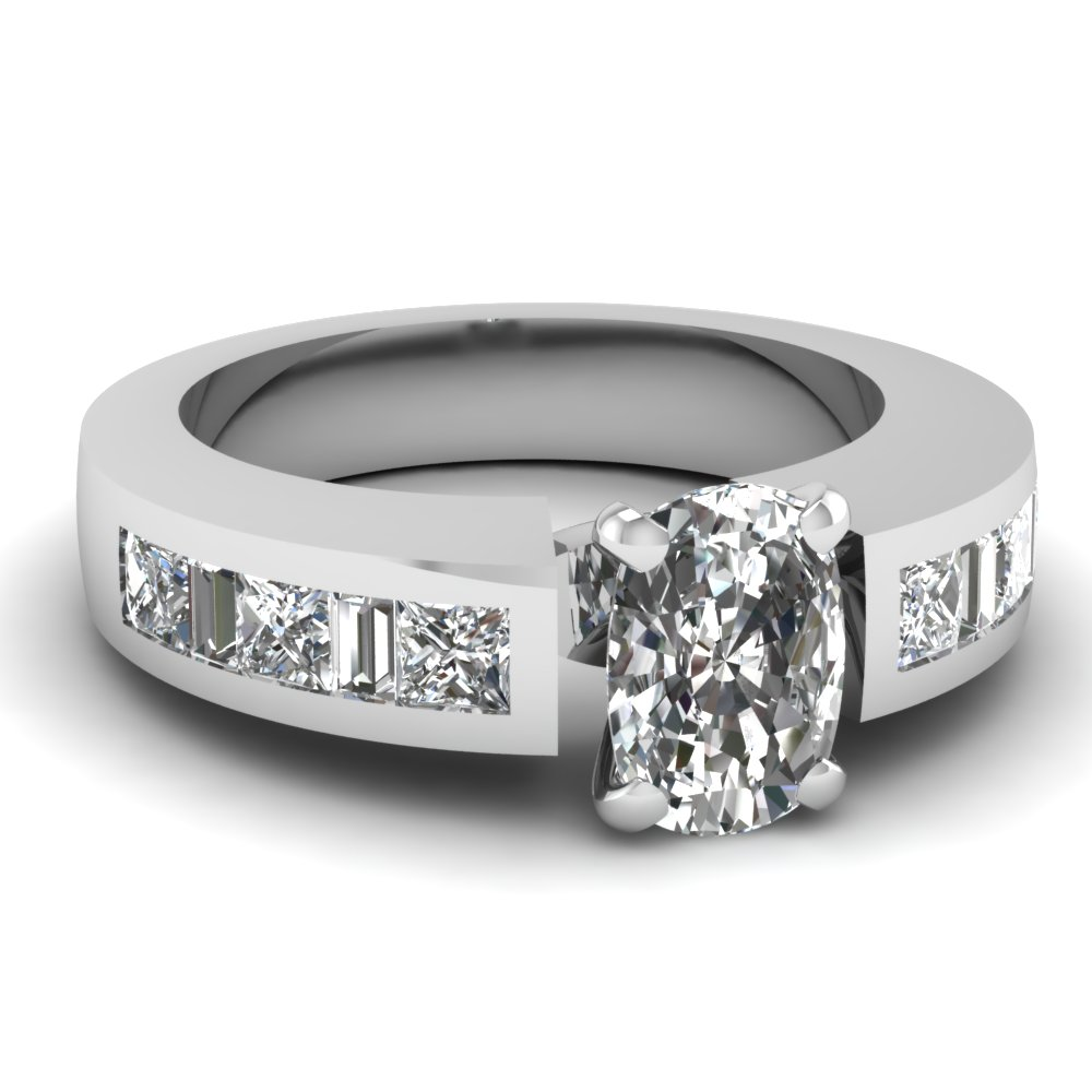 Diamond Accents Cushion Diamond Engagement Ring