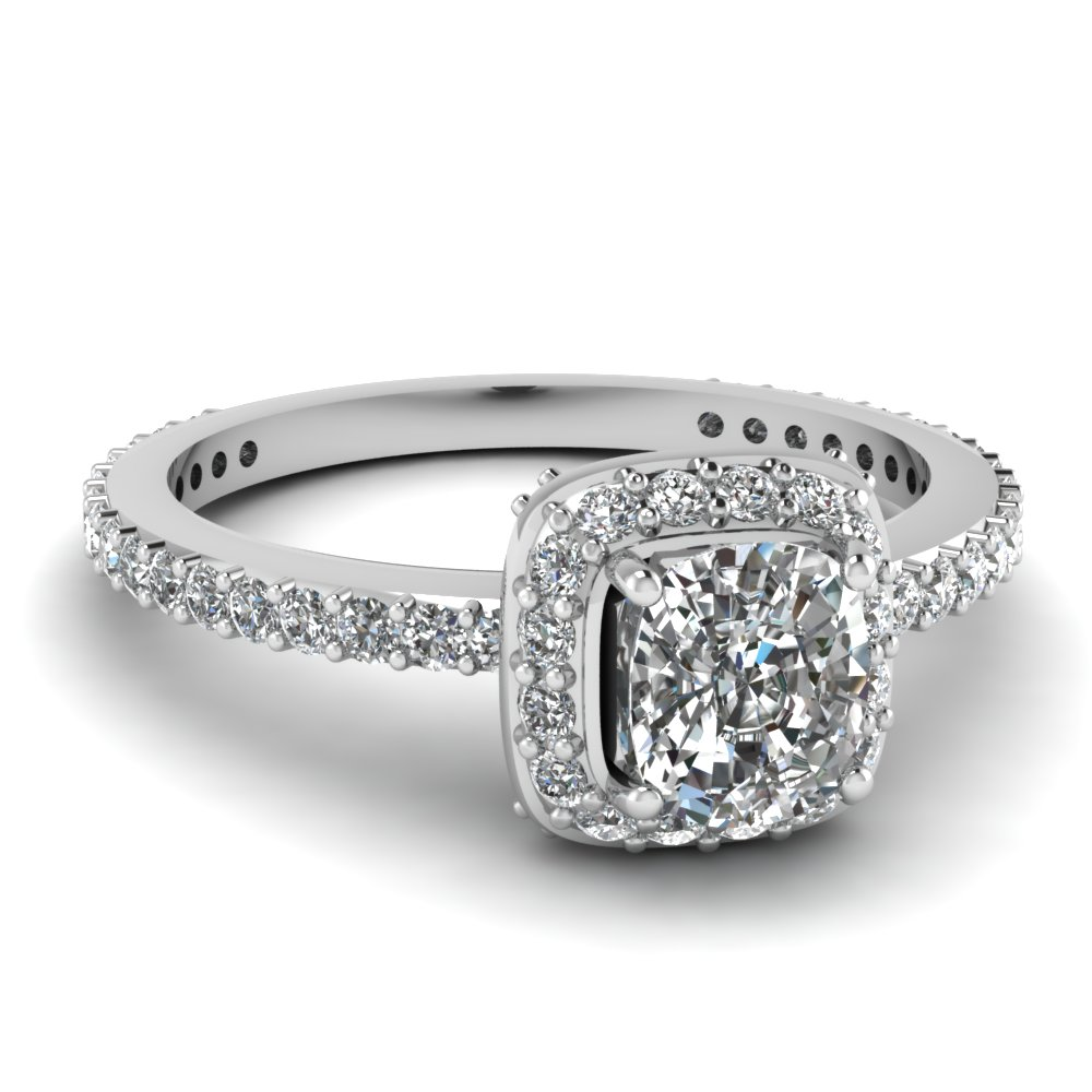 white gold cushion white diamond engagement wedding ring in pave