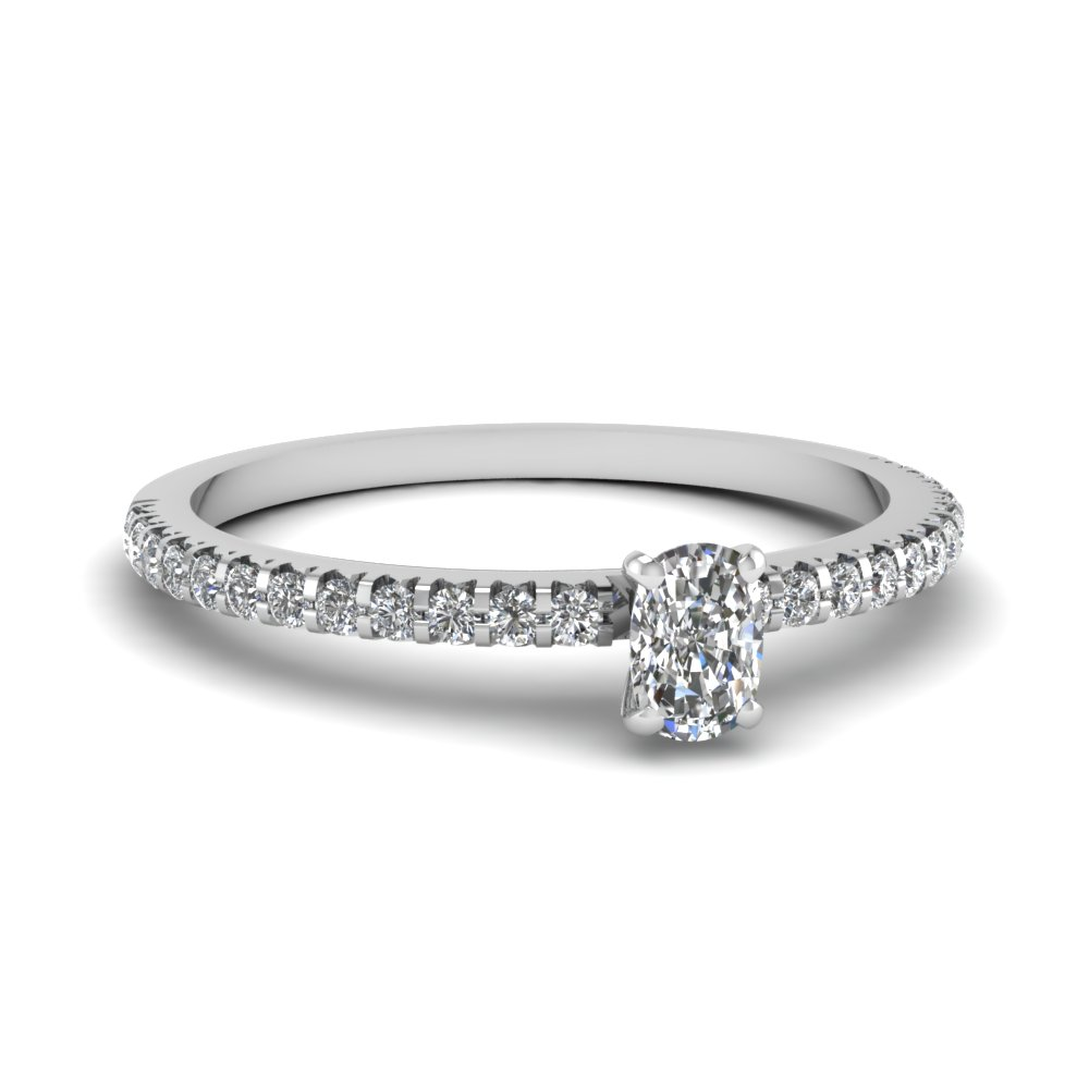 Floating Thin Cushion Cut Ring