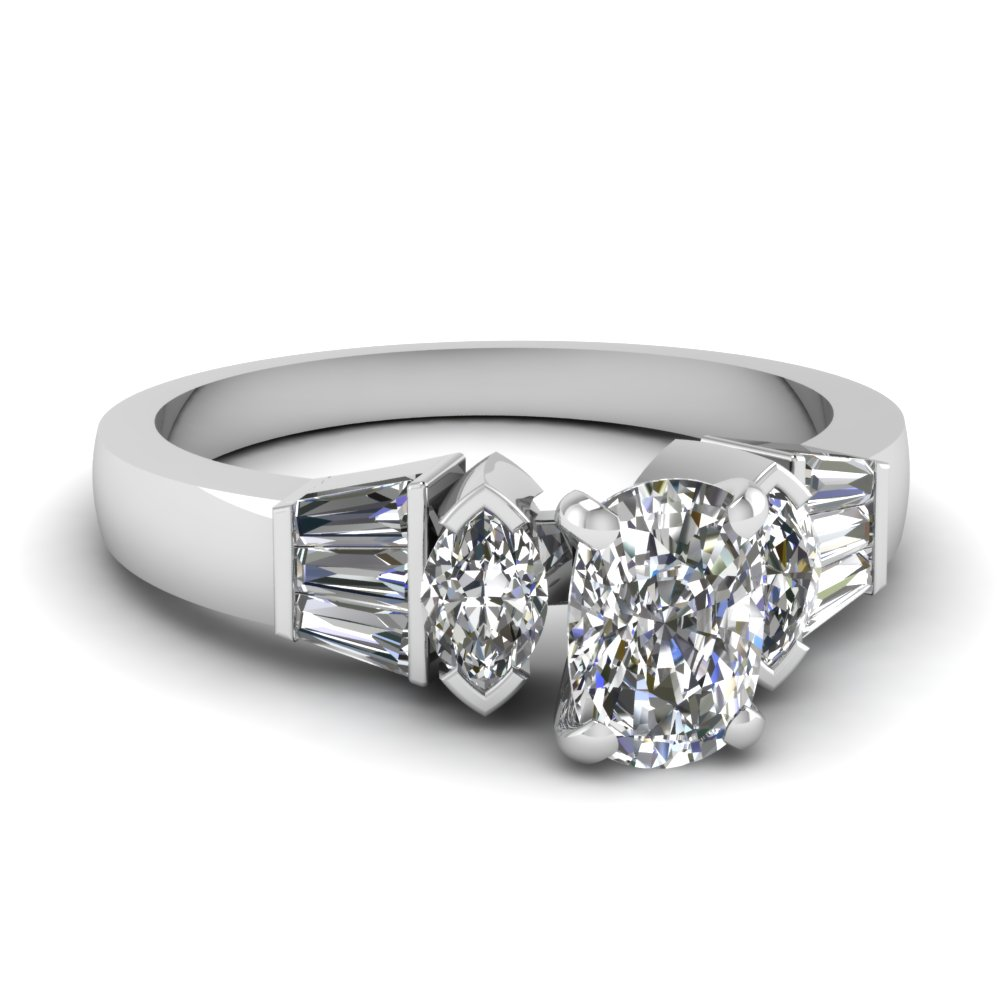 Modern Cushion Cut Diamond Side Stone Ring
