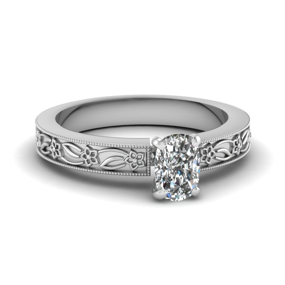 engraved flower cushion cut solitaire engagement ring in FDENS3537CUR NL WG
