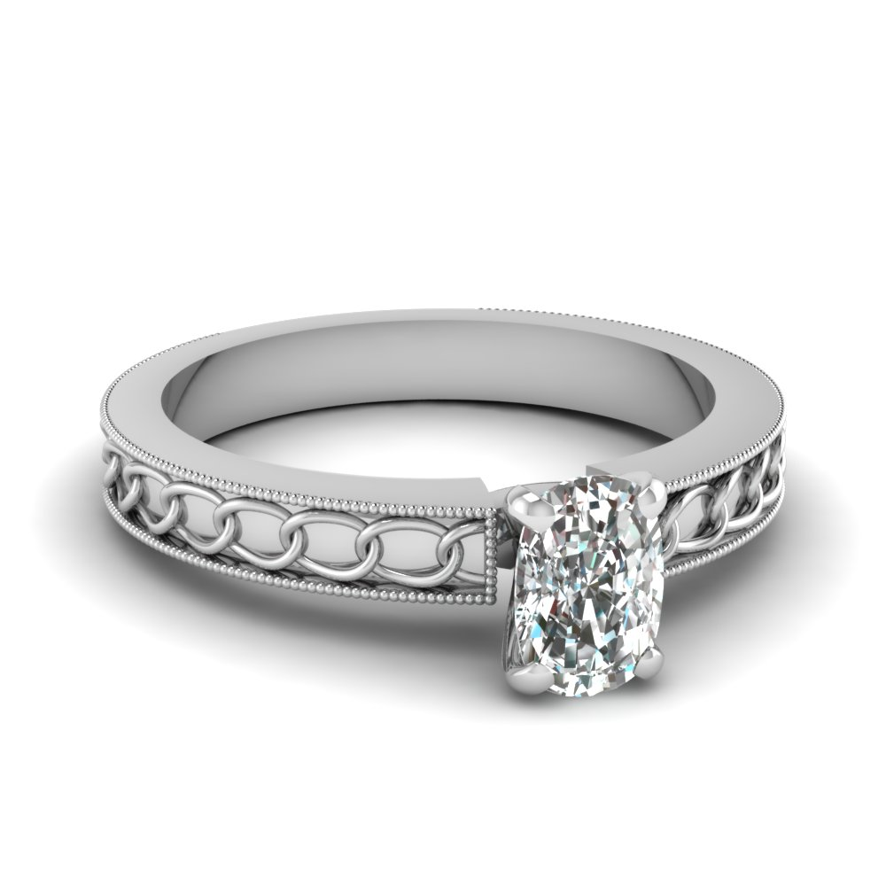 interlocked design cushion solitaire engagement ring in FDENS3607CUR NL WG