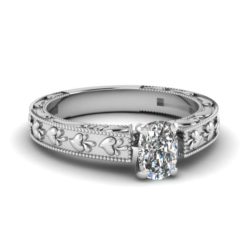 Carved 18k White Gold Solitaire Ring