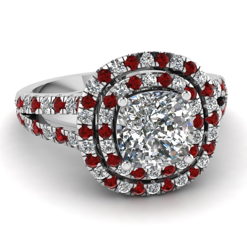 Purchase Red Ruby Halo Engagement Rings