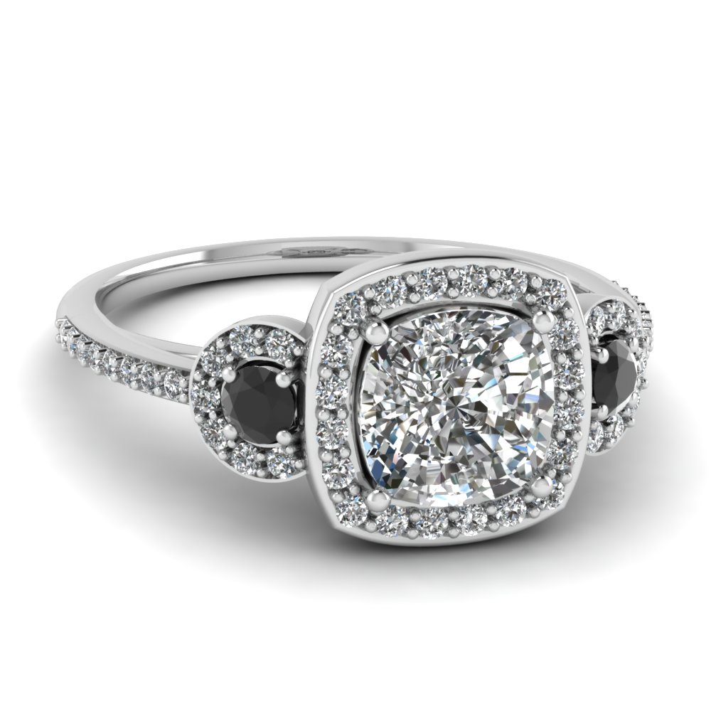 white gold cushion white diamond engagement wedding ring - Black Diamond Wedding Ring Set