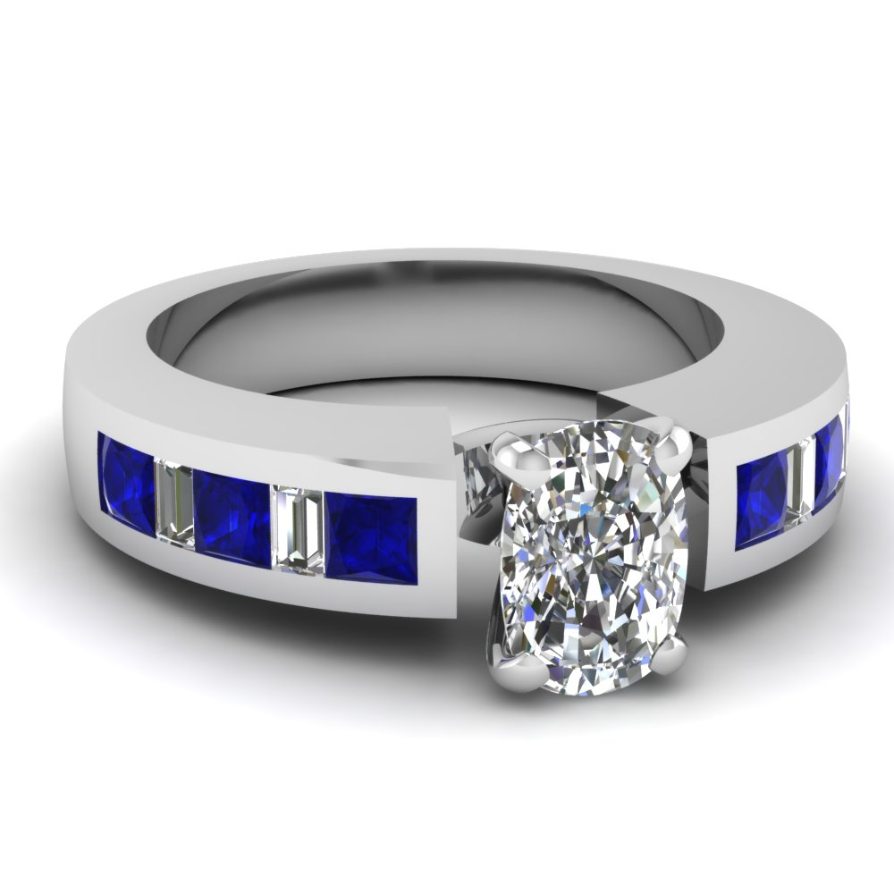 Sapphire Accents Brilliant Cushion Diamond Engagement Ring