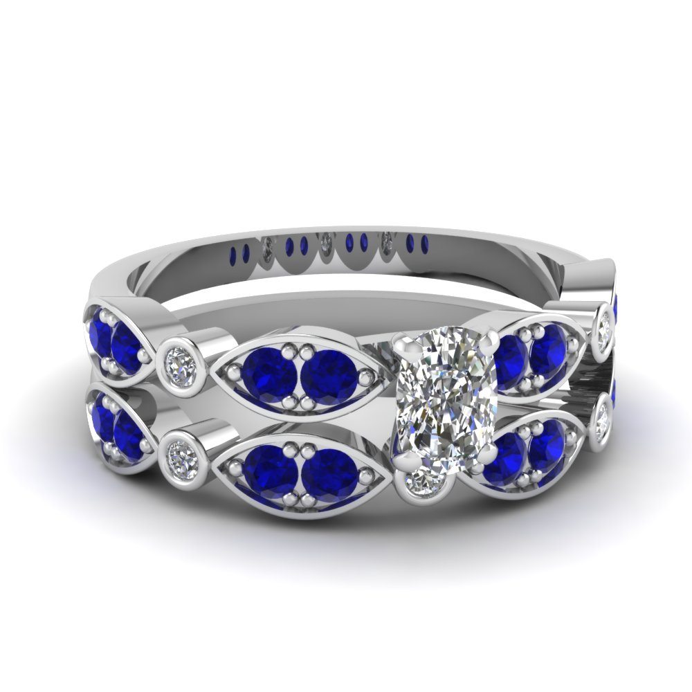 art deco cushion diamond wedding ring set with sapphire in FDENS2035CUGSABL NL WG