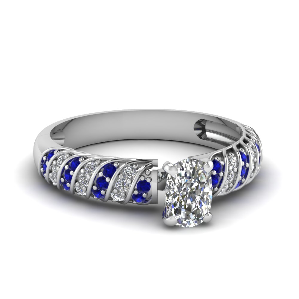 Pave Set Sapphire And Diamond Cushion Cut Engagement Ring