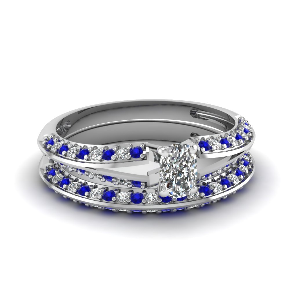 delicate split cushion diamond wedding ring set with sapphire in FDENS3049CUGSABL NL WG 30