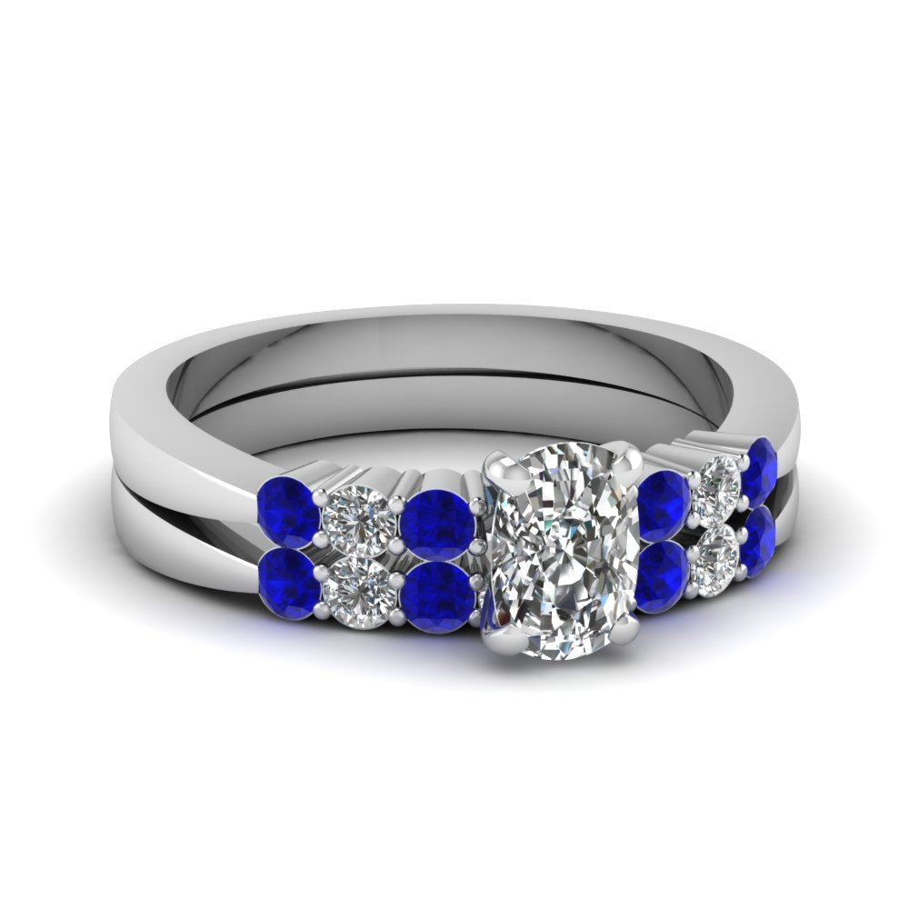 cushion cut tapered 7 stone wedding ring set with sapphire in FDENS750CUGSABL NL WG