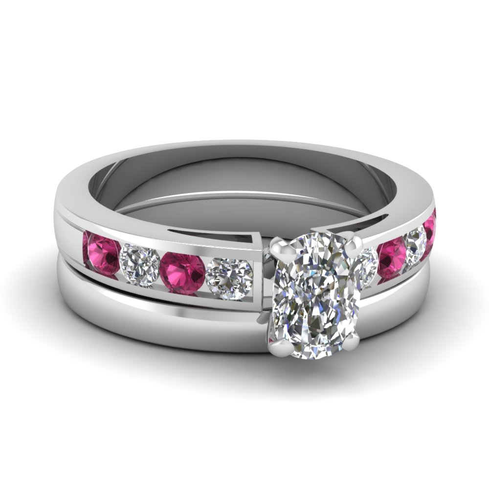 Channel Pink Sapphire Wedding Set