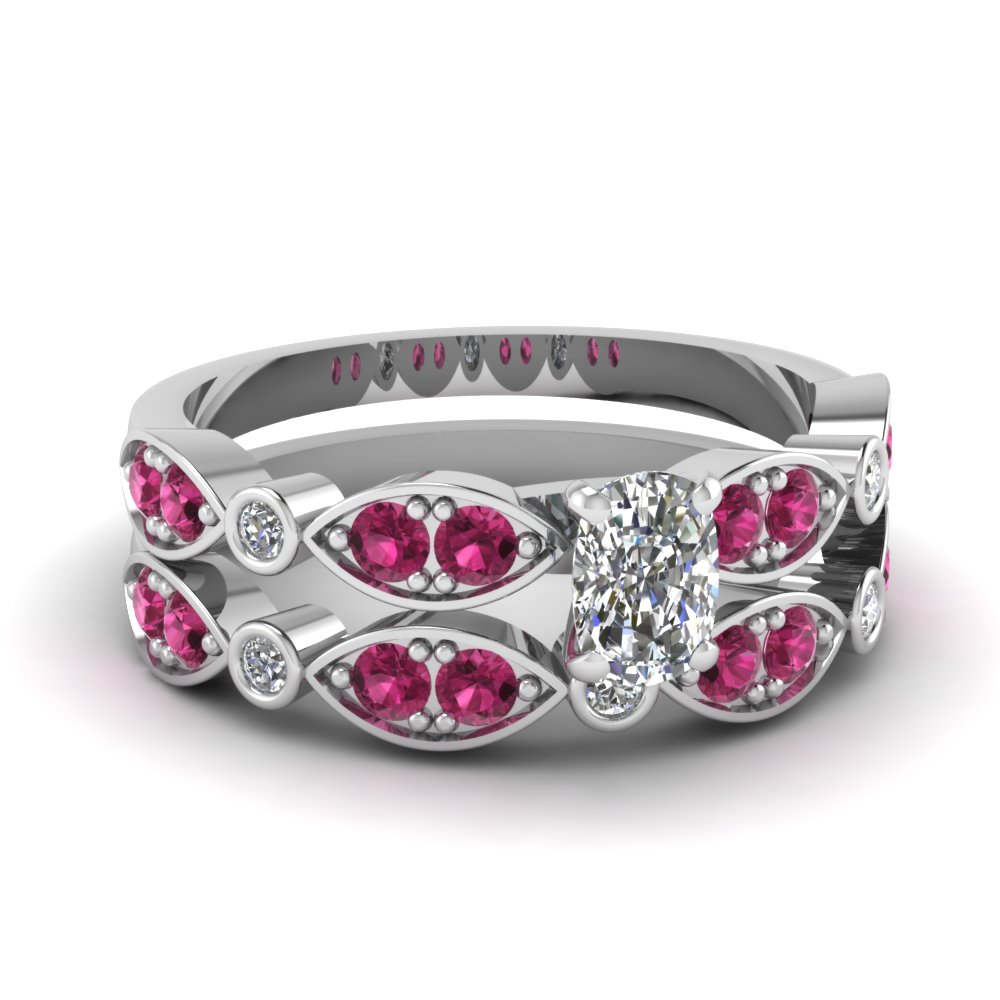 art deco cushion diamond wedding ring set with pink sapphire in FDENS2035CUGSADRPI NL WG