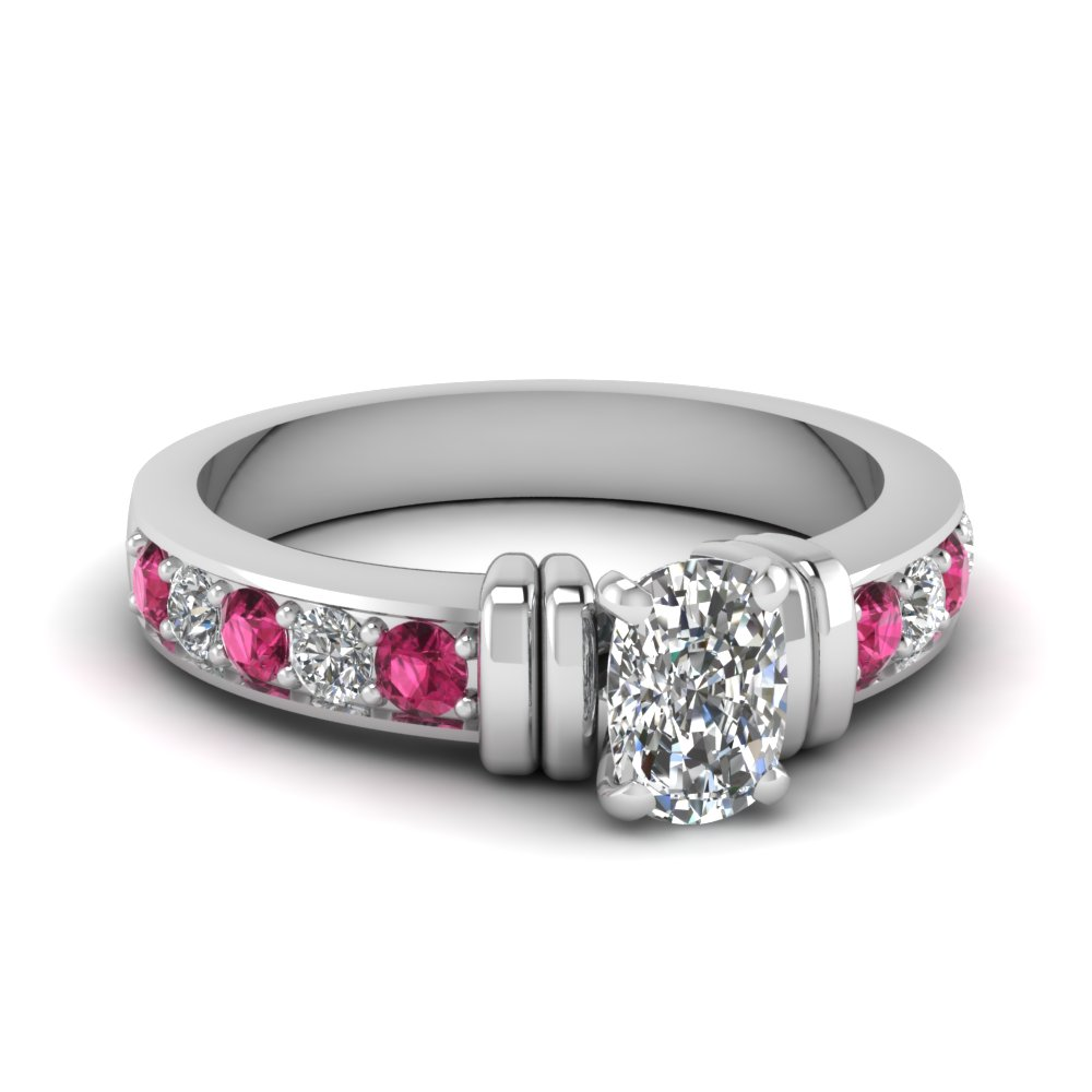 simple bar set cushion lab diamond engagement ring with pink sapphire in FDENR957CURGSADRPI Nl WG