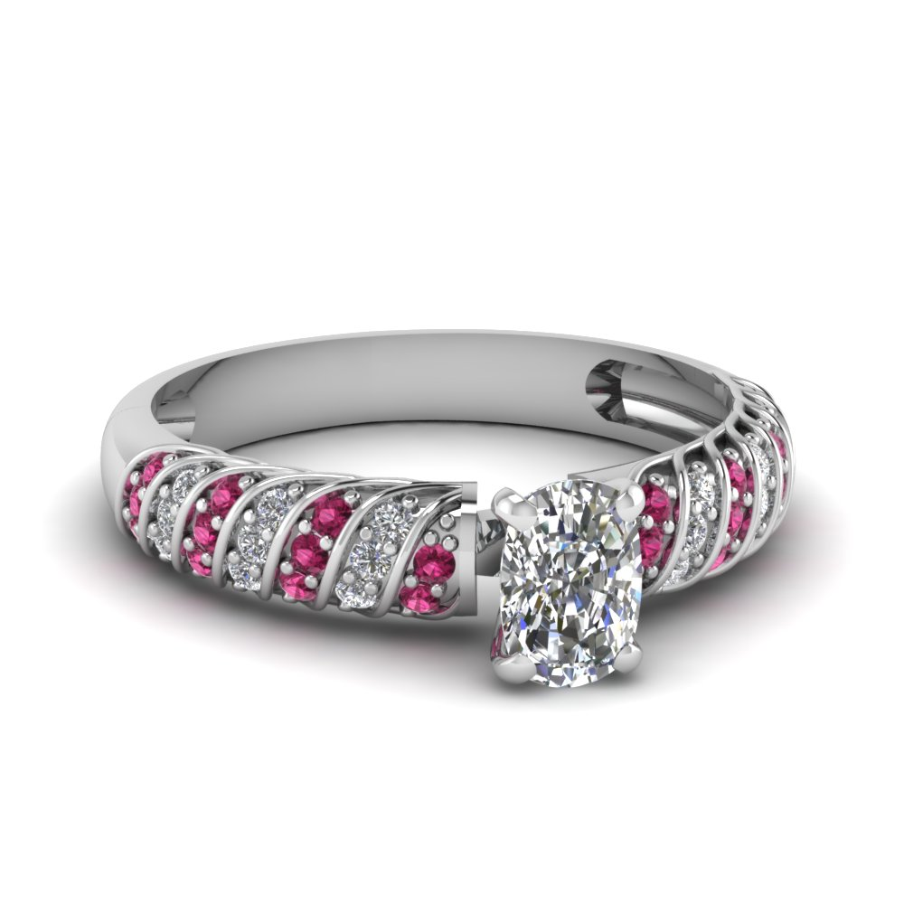 Twist Pave Set Pink Sapphire Ring