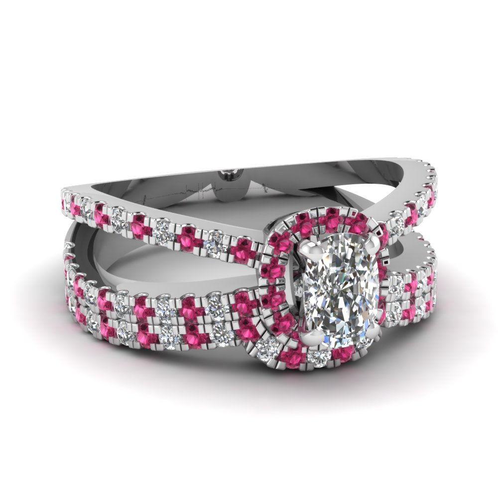 cushion halo split shank diamond wedding ring set with pink sapphire in FDENS3141CUGSADRPI NL WG