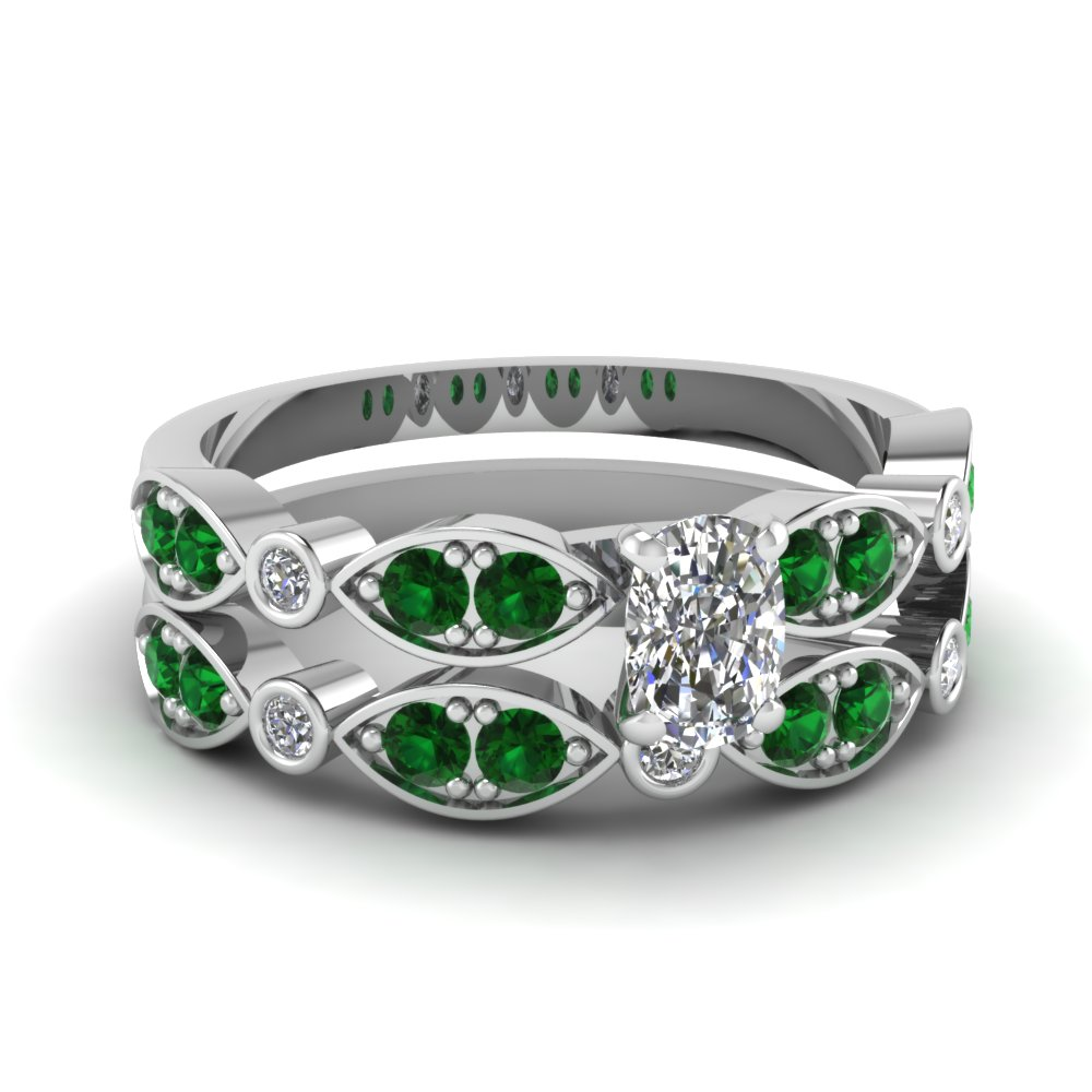 art deco cushion diamond wedding ring set with emerald in FDENS2035CUGEMGR NL WG