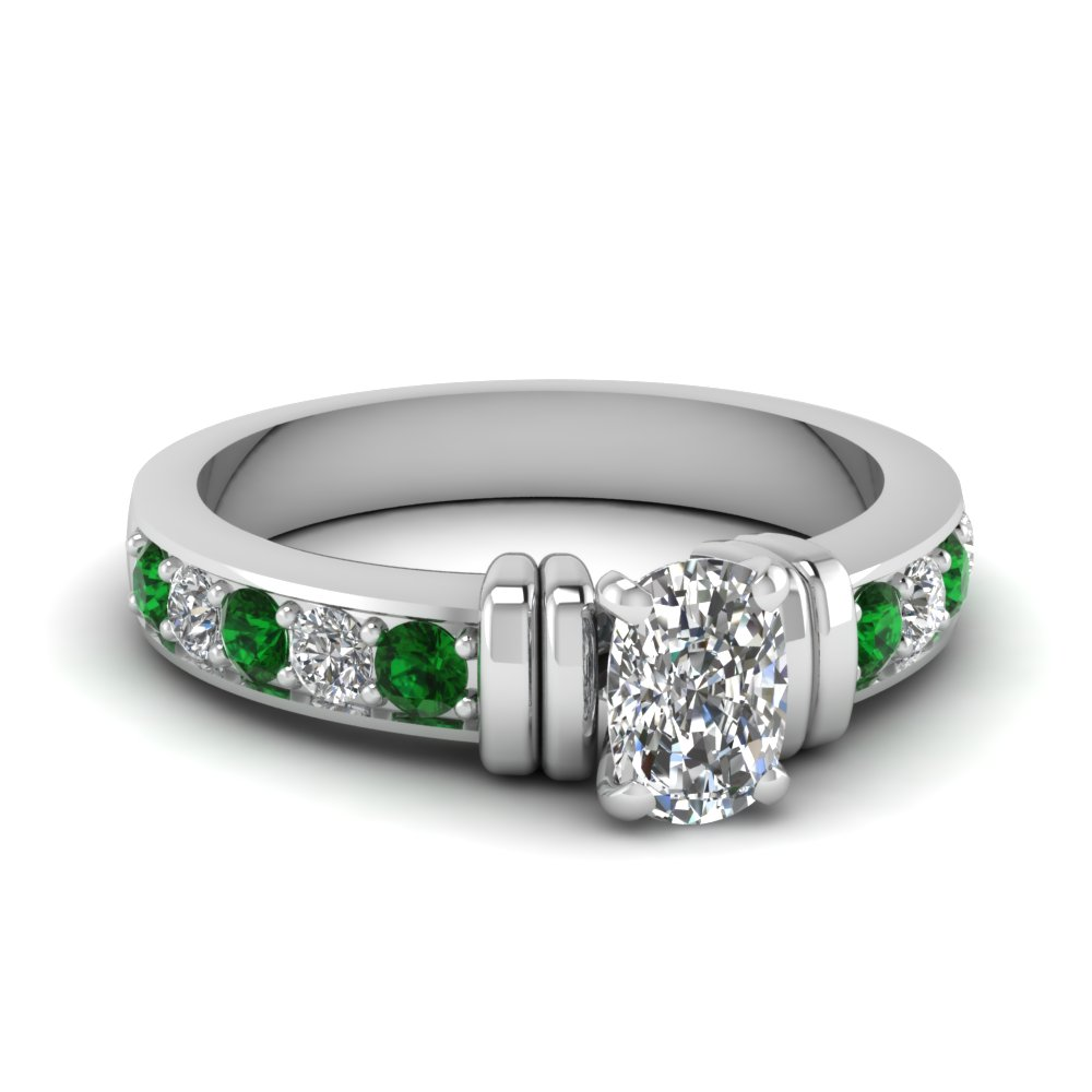 simple bar set cushion diamond engagement ring with emerald in FDENR957CURGEMGR Nl WG