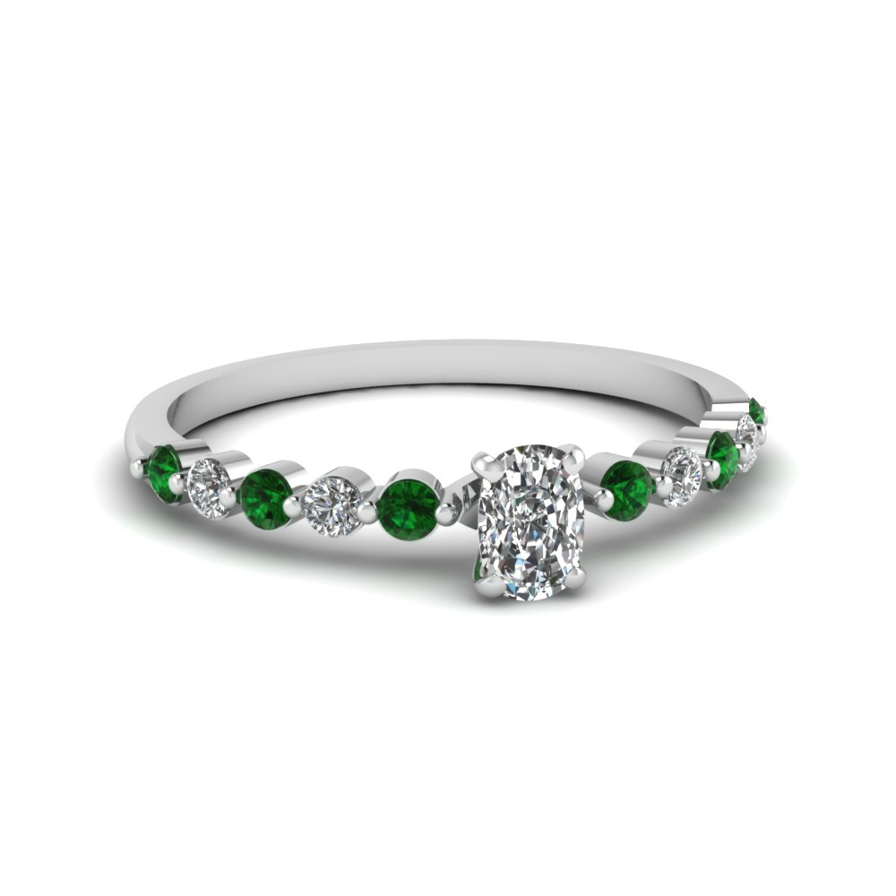 cushion cut petite floating diamond engagement ring with emerald in FDENS3023CURGEMGR NL WG.jpg