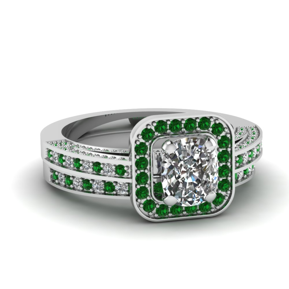 Emerald Bridal Set With Cushion Halo