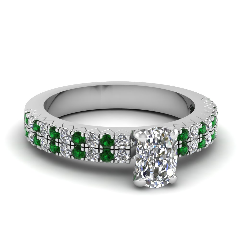 white-gold-cushion-white-diamond-engagement-wedding-ring-with-green-emerald-in-prong-set-FDENR2737CURGEMGR-NL-WG