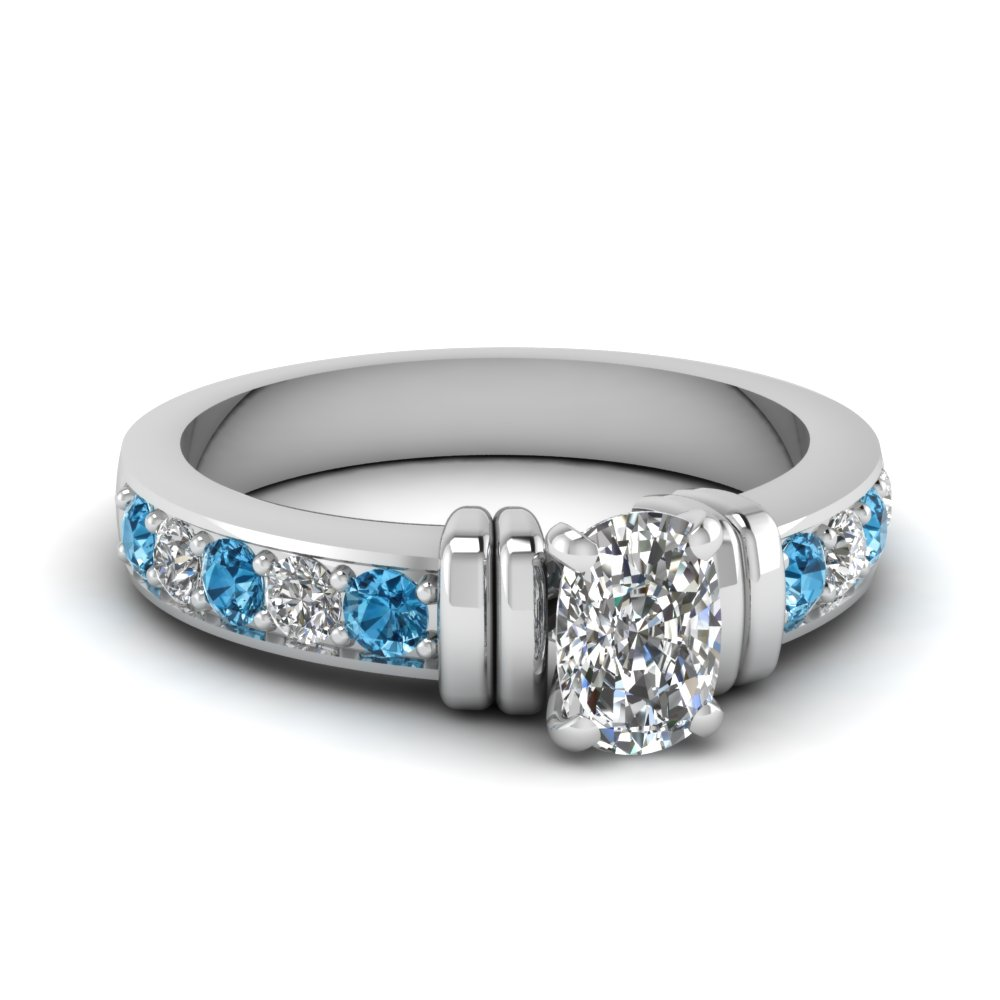 simple bar set cushion diamond engagement ring with blue topaz in FDENR957CURGICBLTO Nl WG