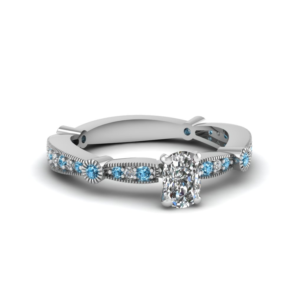 cushion diamond vintage tapered engagement ring with blue topaz in FDENS3026CURGICBLTO NL WG