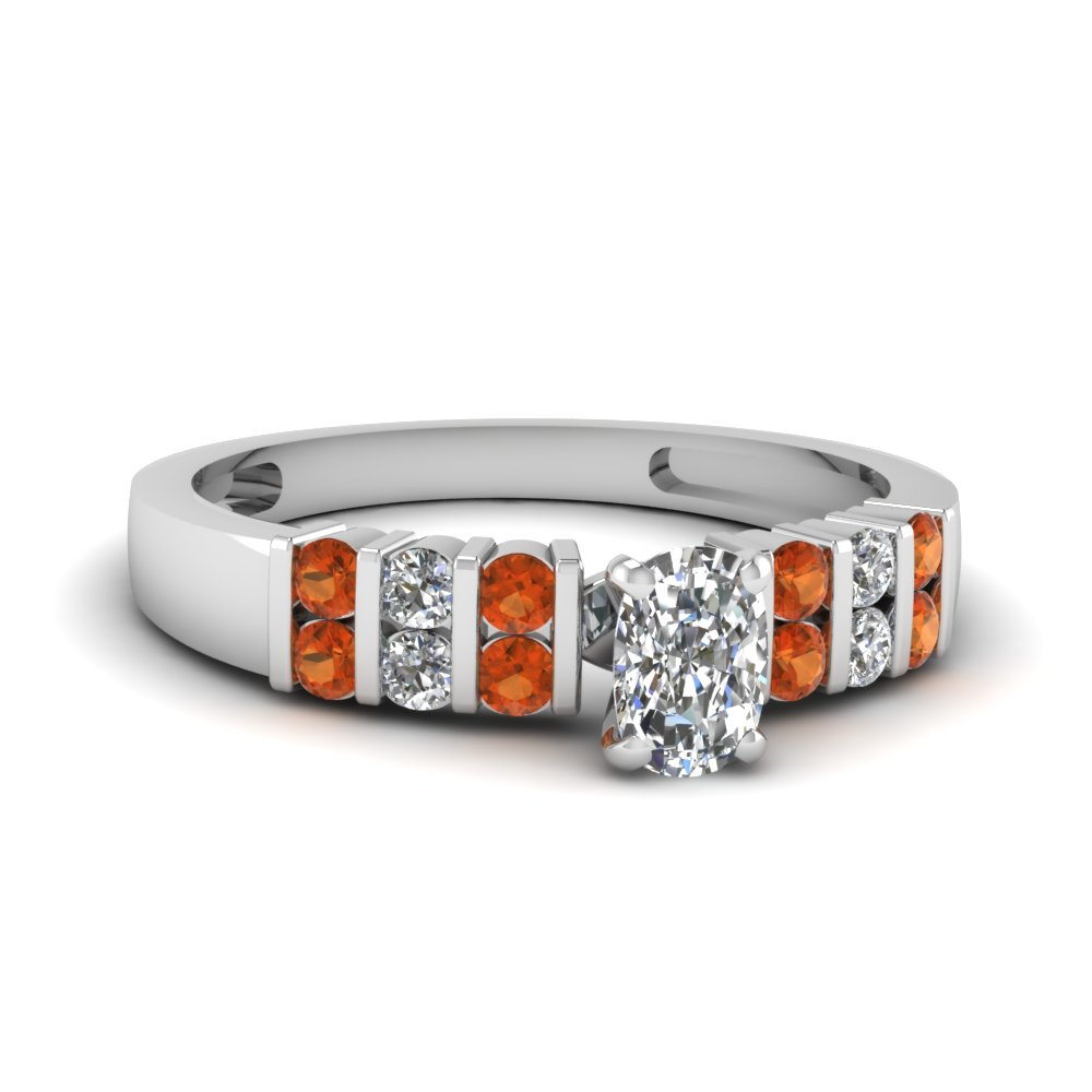 Diamond & Orange Sapphire Ring