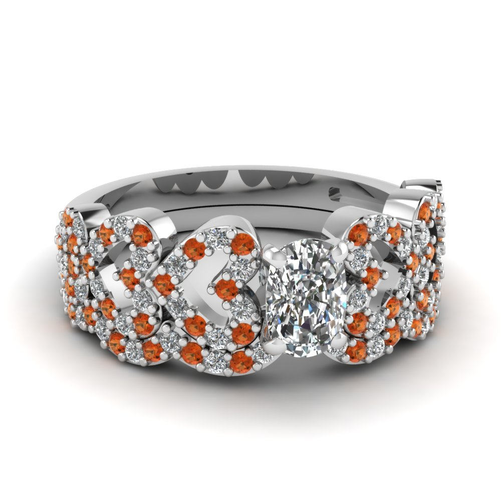cushion cut heart design linked diamond wedding set with orange sapphire in FDENS3051CUGSAOR NL WG.jpg