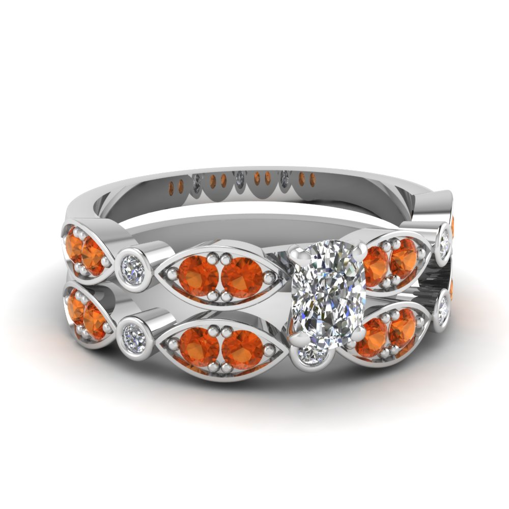 art deco cushion diamond wedding ring set with orange sapphire in FDENS2035CUGSAOR NL WG