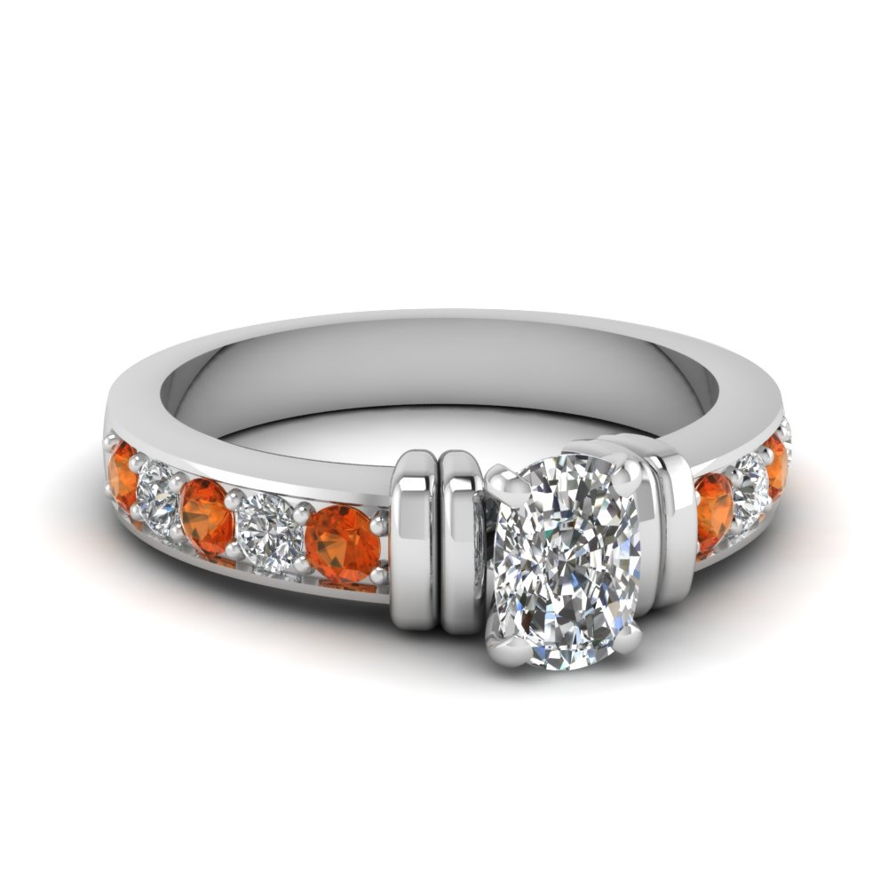 simple bar set cushion lab diamond engagement ring with orange sapphire in FDENR957CURGSAOR Nl WG