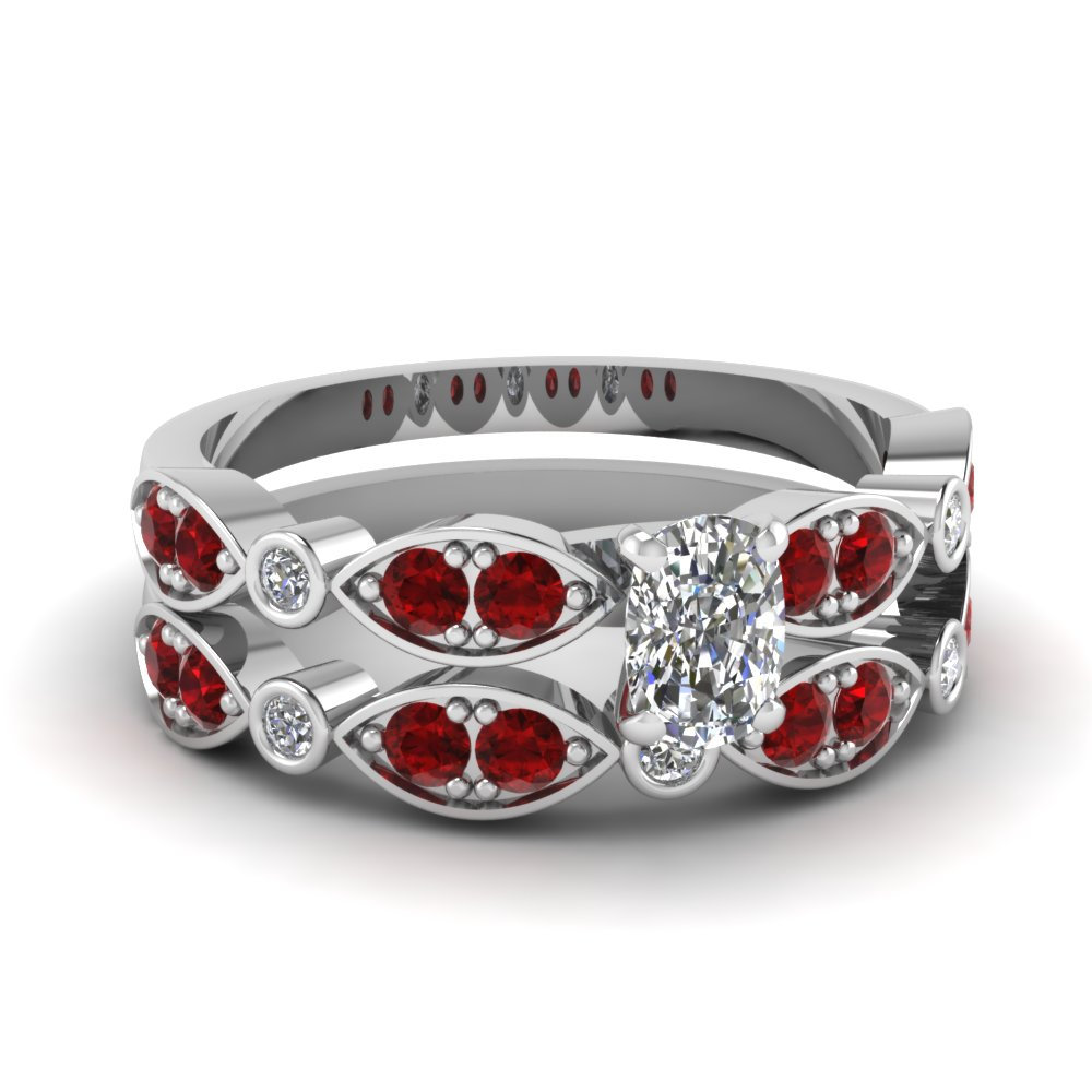 art deco cushion diamond wedding ring set with ruby in FDENS2035CUGRUDR NL WG