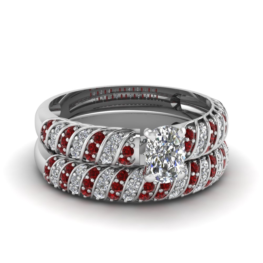Cushion Rope Wedding Ring Set with Rubies