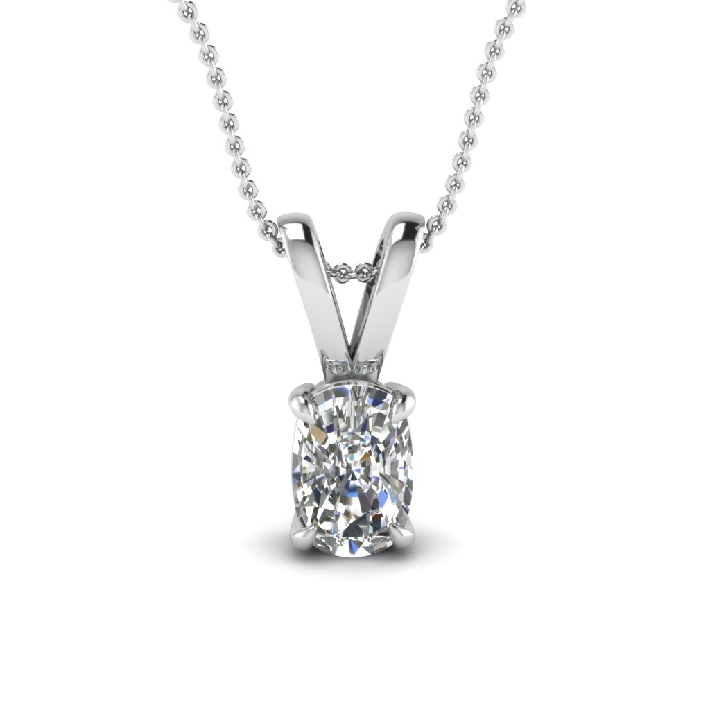 Cushion Cut Single Diamond Pendant Necklace