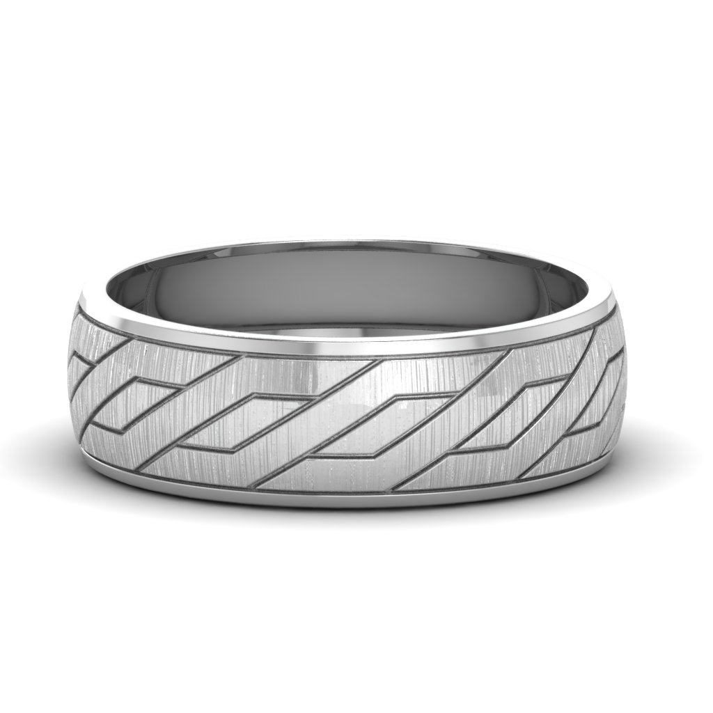 White Gold Diamond Cut Groove Mens Wedding Band