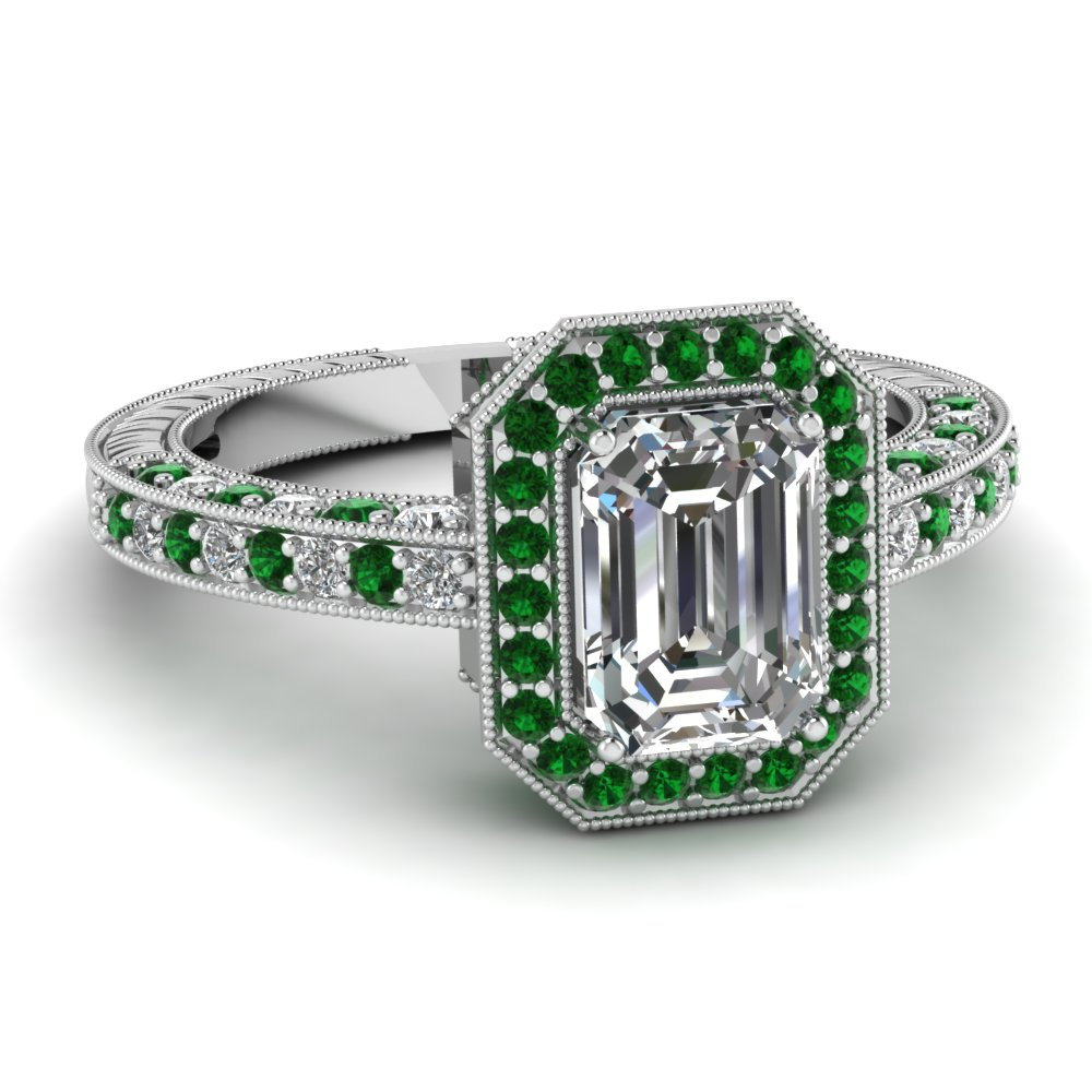 Stunning Emerald Vintage Halo Engagement Ring