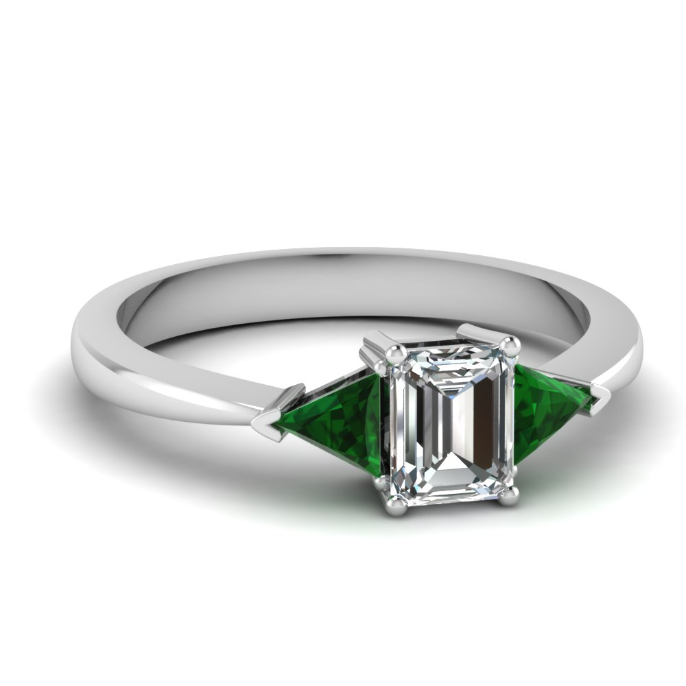 Trillion 3 Stone Green Emerald Engagement Rings