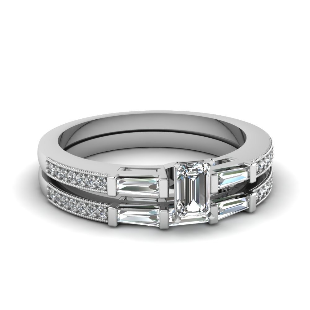 delicate baguette with emerald cut diamond wedding set in FDENS3074EM NL WG 30