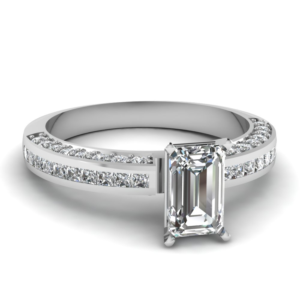 Emerald Cut Genuine Diamond Channel Set Ring