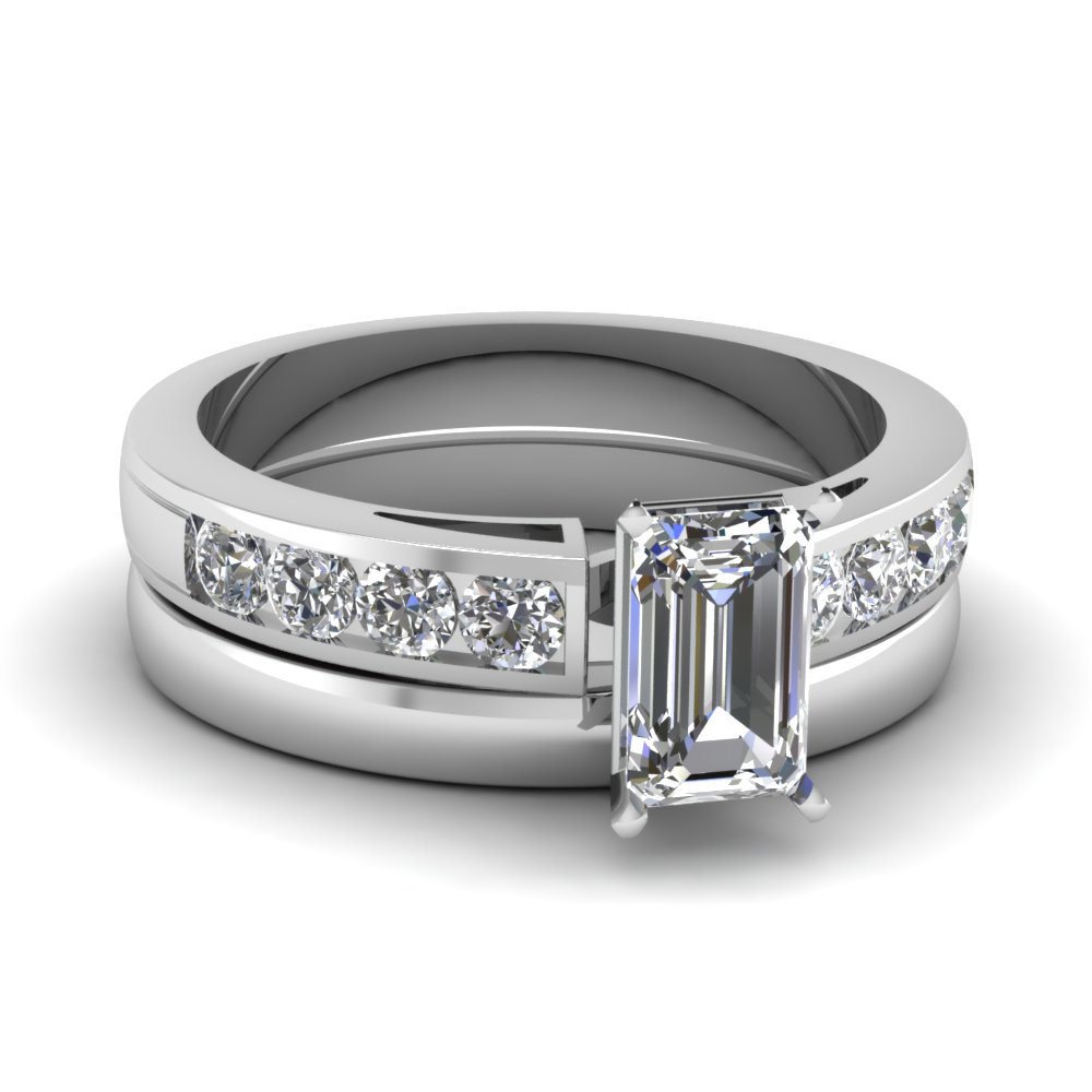 emerald cut channel diamond ring with plain band in FD1030EM NL WG