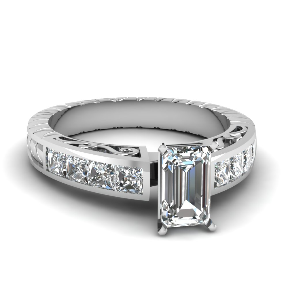 Engraved Emerald Cut Diamond Ring