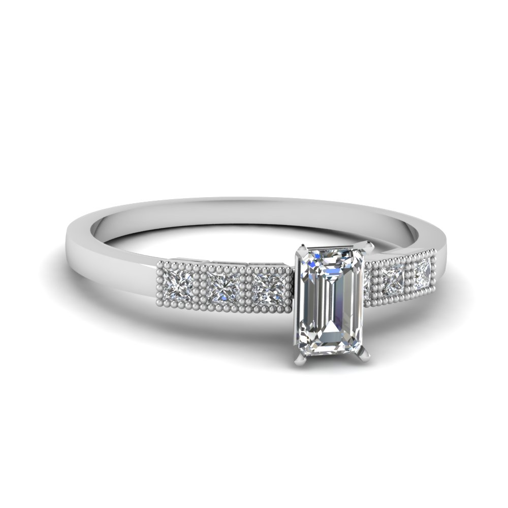 milgrain petite emerald cut diamond engagement ring in FDENS3088EMR NL WG