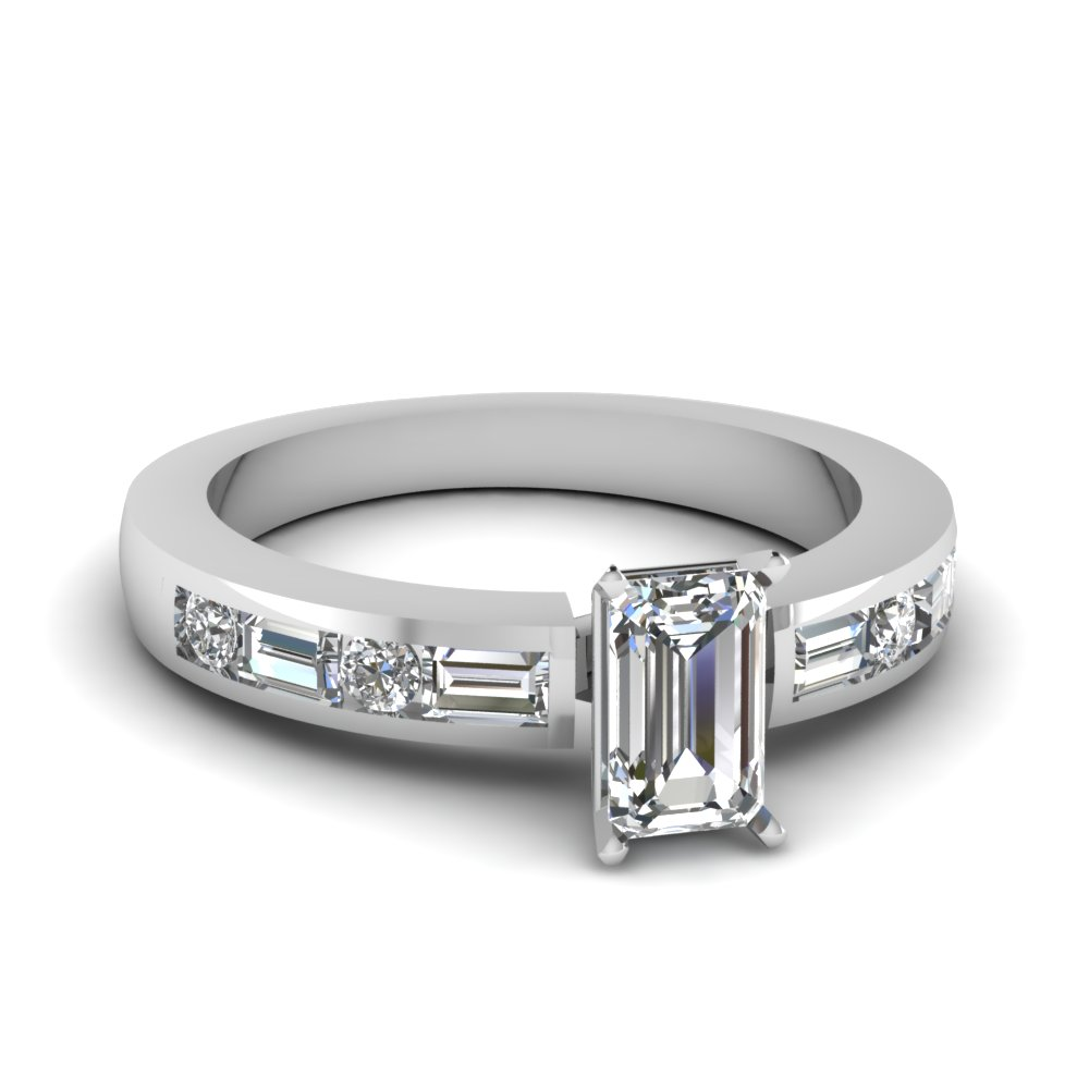 channel set baguette emerald cut diamond engagement ring in FDENS567EMR NL WG