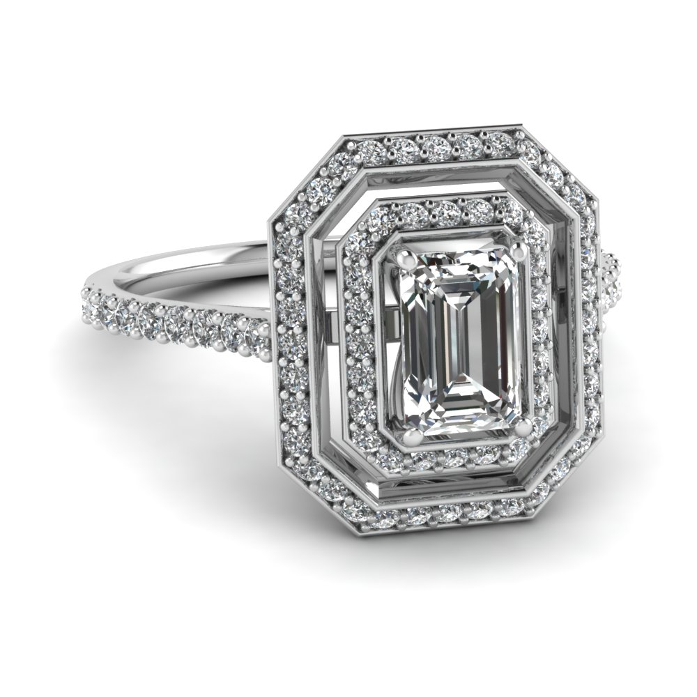 14k white gold emerald cut pave white diamond halo engagement