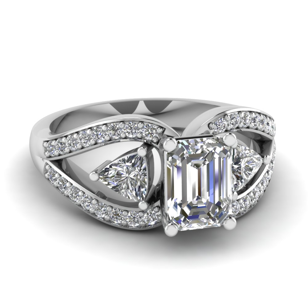trillion butterfly emerald cut diamond engagement ring in FD71589EMR NL WG