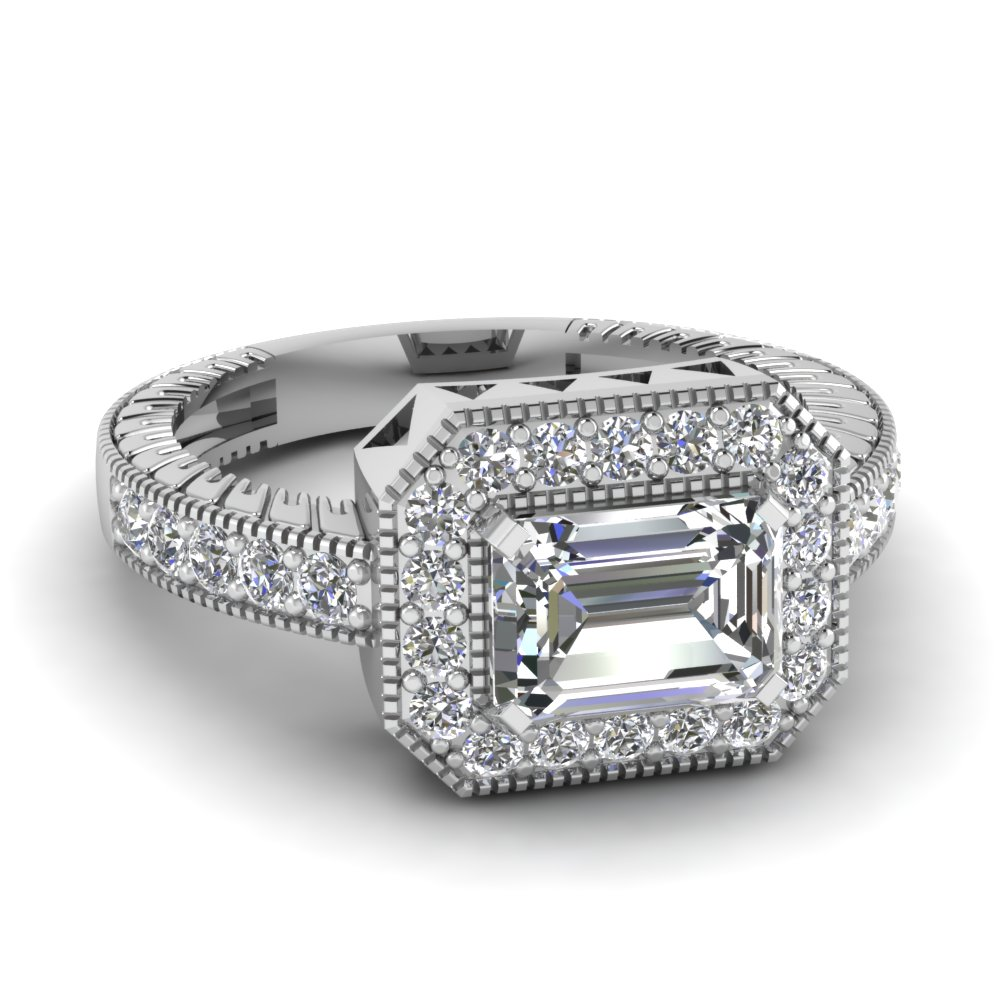 Emerald Cut Diamond Vintage Inspired Platinum Engagement Ring
