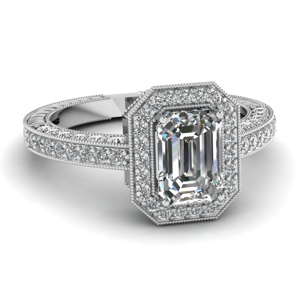 14k white gold emerald cut halo engagement rings | fascinating