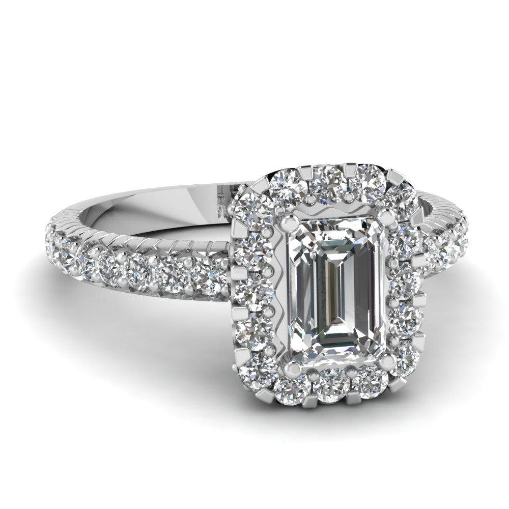 Emerald Cut Halo Engagement Rings