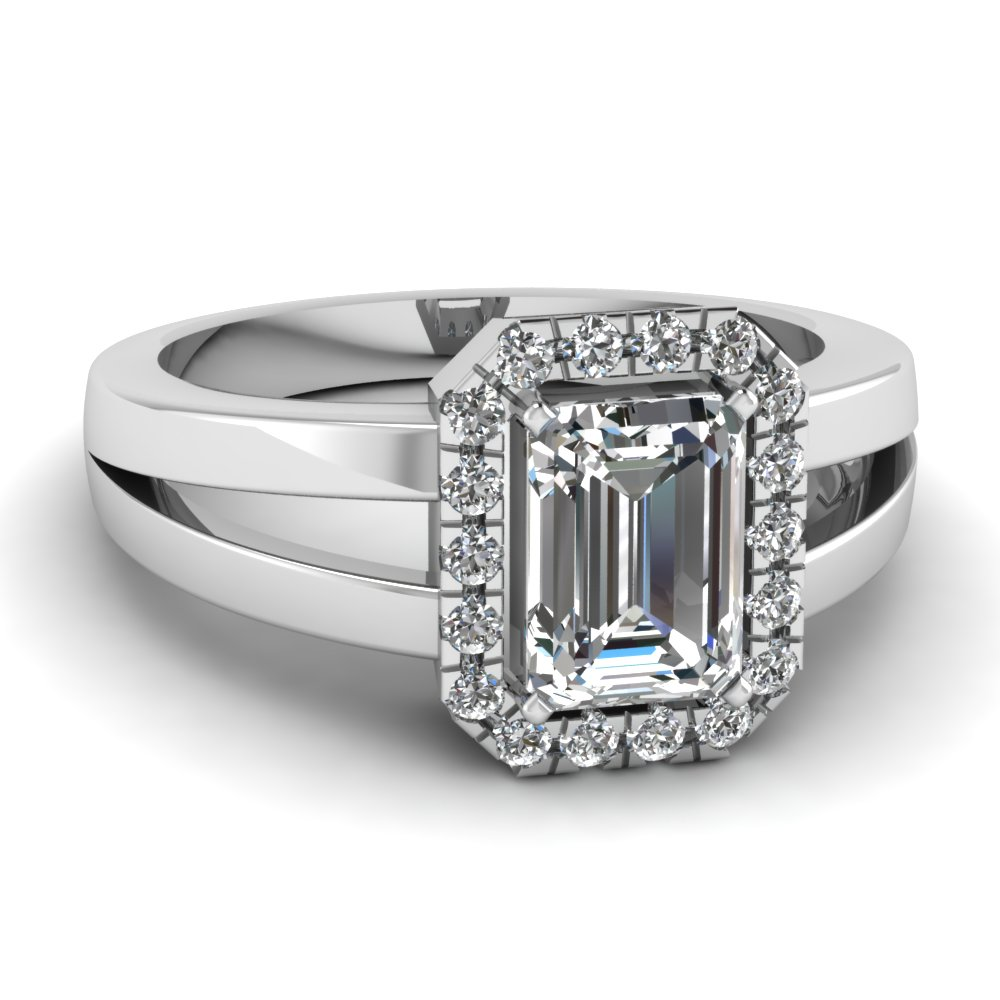 Emerald Cut 14k White Gold Halo Ring