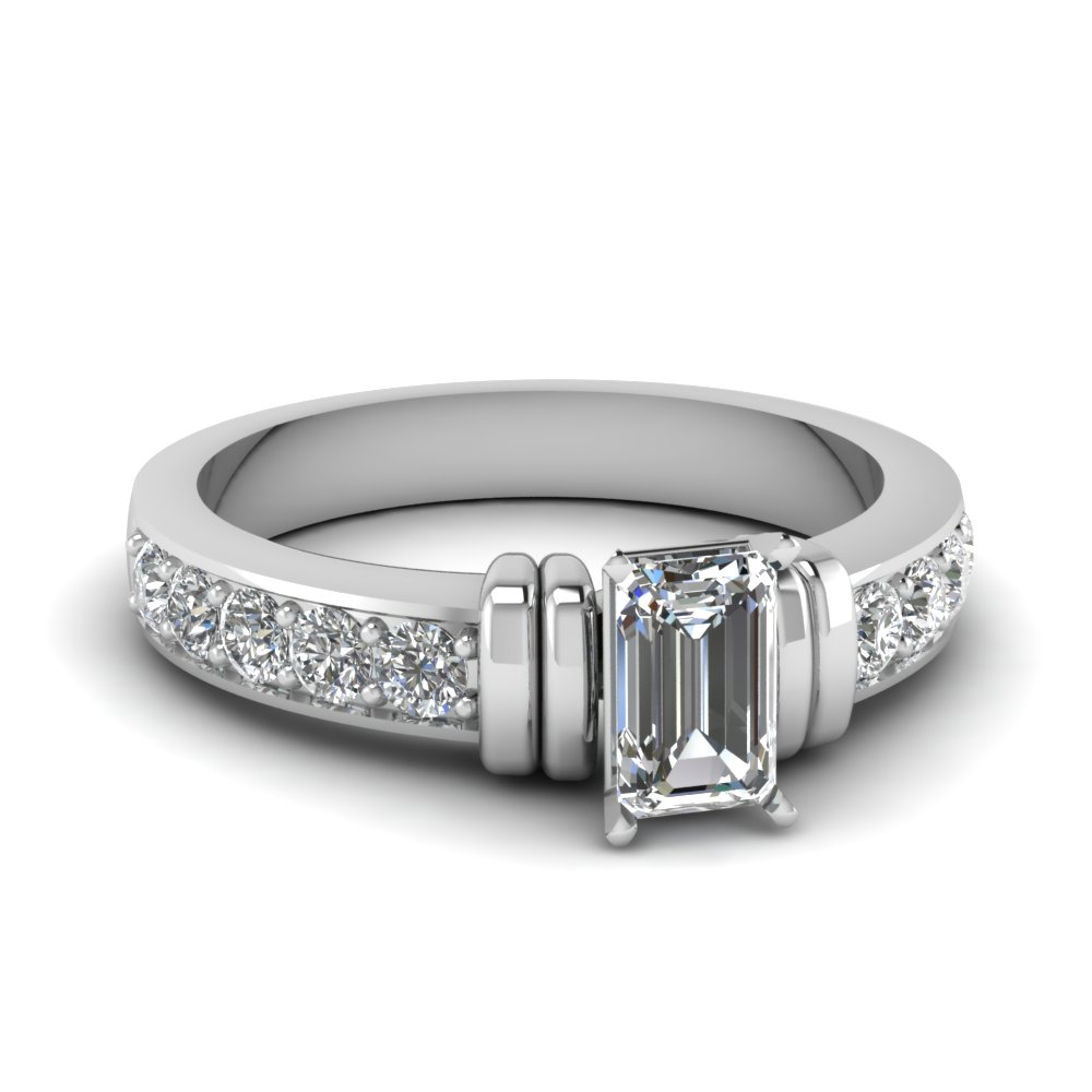 simple bar set emerald cut diamond engagement ring in FDENR957EMR Nl WG