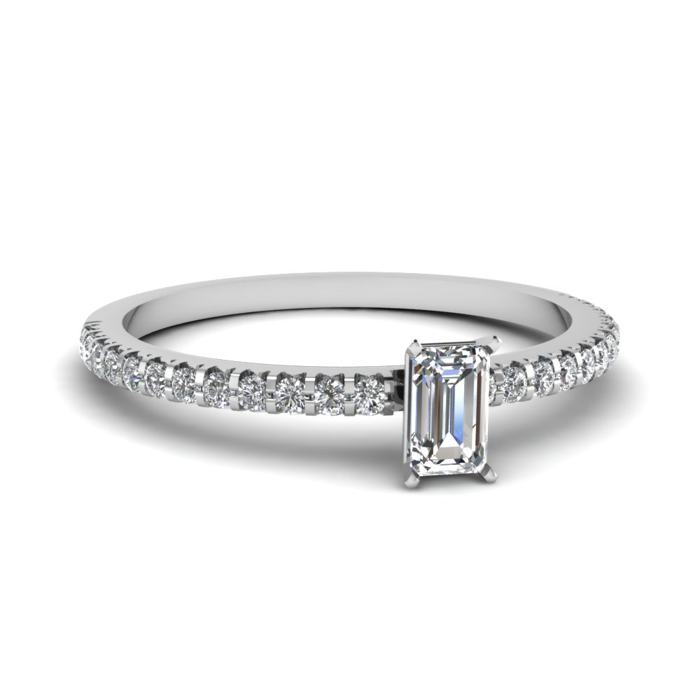 floating thin emerald cut diamond engagement ring in FDENS3009EMR NL WG 30